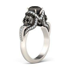 Twist Vapor-like 2-tone Round Cut Black Diamond Rhodium Plated Sterling Silver Skull Ring