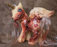 TRUE LOVE   My Little Pony Zombie Pegasus Custom MLP OOAK Valentine Heart Gore photo