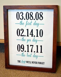 Gift for husband 11x14 print Anniversary gift by laceyfields. This would be a super easy DIY. Print out a card for a couple dollars at Shutterfly.com and frame it!