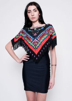 Navajo Fringe Bright Multi Colored Shawl Small by rumors on Etsy, $32.00