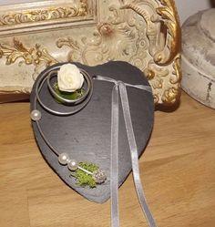 Ringkissen Schieferherz zur Hochzeit mit / ohne Beschriftung silber grau