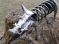 Warthog Metal Sculpture Yard Art Garden Art Found Objects. $54.75, via Etsy.