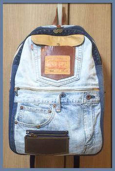 Levi'sのジーンズをリュックにリメイク【ジーンズリメイク】【Gパンバッグの作り方】 | Gパンをバッグにリメイク【7つのコツ】で上手に出来る♪デニム・ジーンズバッグの作り方