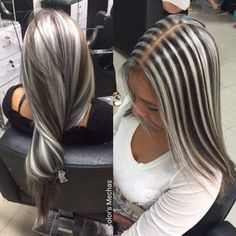 100 dark hair with heavy platinum highlights perfect when you're going grey page - Hair Colors Blonde Ideen Blonde Highlights On Dark Hair, Brown Blonde Hair, Platinum Highlights, Blonde Grise, Cabelo Ombre Hair, Multicolored Hair, Hair Shades, Hair Looks, Dyed Hair