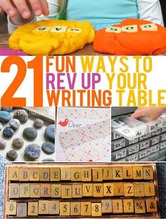 21 Fun Ways to Increase Interest in Your Writing Table. Great ideas for preschool and kindergarten settings