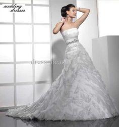Sexy Wedding Reception Dresses | Sexy-Wedding-Dress-Organza-Strapless-Wedding-Dresses-Lace-up-Wedding ...