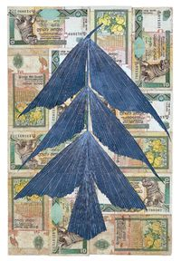 fiona hall - gouache leaf on currency