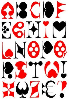 An alphabet made for Agatha Heeren, inspired by playing cards.
