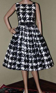 Vintage 50s / 60's Black & White ~Cocktail ~Swing~Party~Full Skirt DRESS #NancyGreer #50sFashion