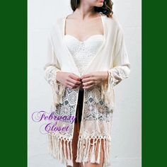 Boho Style Fringe Cardigan A beautiful lightweight fringe with lace detail cardigan everyone should have in their closet. Ideal for casual wear, as well as an evening wrap. Ivory color. Loose fitting. 100% rayon. Sweaters Cardigans