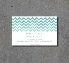 Chevron Ombre Wedding Save The Dates. $0.80, via Etsy.