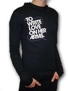 To Write Love On Her Arms Title design printed on black baby rib long sleeve hooded tee.  Deon is available in Girls sizes only.  For guys, use the following size suggestions:  Guys size Small