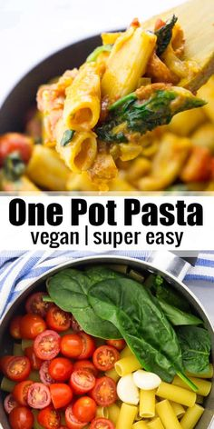 This vegan one pot pasta with spinach and tomatoes is super easy to make and so incredibly creamy and delicious! It's one of my favorite vegan dinners for busy weeknights! #vegan #vegandinner #veganpasta