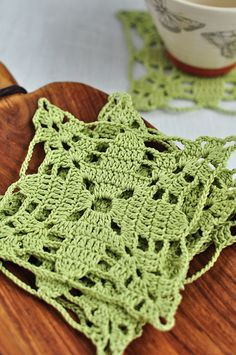 Hand crochet coasters, lace, doily, ornament, Easter, gift, set of 2, fresh spring green, cotton, home decor