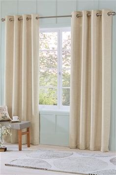 Cream linen curtains for sliding doors