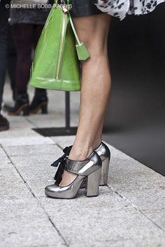Bip Ling Shoes - Metallic Silver Heels - Black Bows