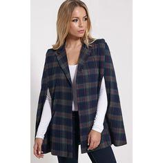 Hannah Blue Tartan Cape Blazer-L (91 SAR) ❤ liked on Polyvore featuring outerwear, jackets, blue, tartan blazer, blue cape, blue plaid blazer, cape blazer and blue cape coat