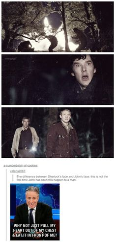 The differences between Sherlock and Watson: it's in the expression. John's face- he's seen this in combat. Sherlock has the knowledge, but not always the experience. Sherlock Bbc, Sherlock Fandom, Benedict Cumberbatch Sherlock, Sherlock Quotes, Jim Moriarty, Watson Sherlock, Sherlock Anime, Sherlock Poster, Funny Sherlock