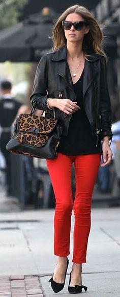 Nicky Hilton wears a biker jacket and red jeans