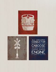 Set of Three Vintage Train Prints Vintage Feel by littleredflag