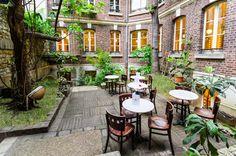 """Maison Francart 44 RUE DU FOUR - 75006 PARIS """"Direction le jardin du discret salon de thé de la Maison Francart. C'est à 10h pétantes que les thés épicés, les jus pressés, les pains de Gênes aux pistaches et les cookies fait maison entrent en piste."""" - MyLittleParis"""