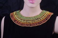 Amazing antique égyptien perles collier Cléopâtre rouge & vert