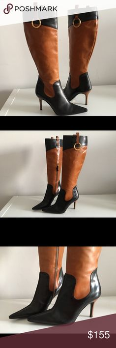 """DOLCE GABBANA KNEE HIGH BOOTS, SIZE 36 DOLCE GABBANA KNEE HIGH BOOTS IN BLACK AND TAN LEATHER, SIZE 36, STACKED HEEL 3 1/2"""", SHAFT 15"""", CIRCUMFERENCE 13"""", POINTED-TOE WITH ZIP CLOSURES AT SIDES, LEATHER UPPER, LINING AND SOLES, MADE IN ITALY, NO SIGNS OF WEAR ABOVE SOLES, GENTLY USED IN EXCELLENT CONDITION. Dolce & Gabbana Shoes Ankle Boots & Booties #dolceandgabbanashoeshighheels"""