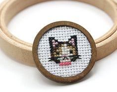 Cat necklace Cat cross stitch necklace Embroidery by otterlydesign