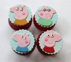 12 peppa cupcake toppers pink pig family edible fondant birthday topper inspired toddler preschoolers princess animal piglet girl boy
