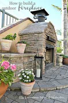 How to Build an Outdoor Stacked Stone Fireplace.  Step by step tutorial with pictures and almost everything was purchased off craigslist!