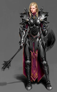 Rpg Character Art — cyberclays: A paladin - by Un Lee Fantasy Character Design, Character Concept, Character Inspiration, Character Art, Illustration Fantasy, Illustration Manga, Armadura Medieval, Female Armor, Female Knight