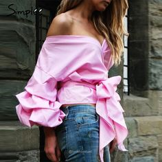 Simplee Apparel Women's Off Shoulder V Neck Wrap Blouse Shirt Waist Tie Pink Cotton, polyester Ruffled lantern sleeve and bow waist tie Sweet and casual easy to match Slightly sheer Designed to be worn on the hips Bow Tie Blouse, Wrap Blouse, Pink Tops, Shirt Blouses, Sleeve Styles, Off Shoulder Blouse, Shoulder Tops, Blouses For Women, Clothes