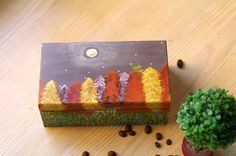 Painted wooden jewelry box Wood painted box - decorative box - decorative storage box - trinket box - jewelry storage - wood jewelry box