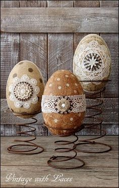 Easter Decoration - Decoupaged and Embellished Paper Mache Eggs on Rusty Bed Springs