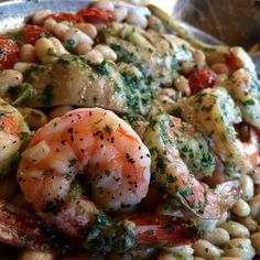 Forno's Wood-fired roasted shrimp, stemmed artichokes, cannellini beans, roasted tomatoes, fresh thyme, extra virgin olive oil