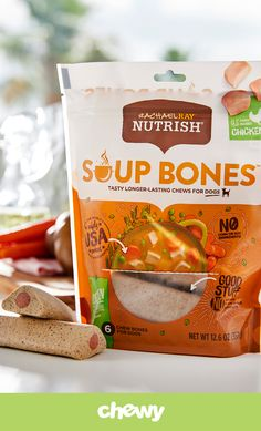 Soup Bones dog treats by Rachael Ray Nutrish are the real deal! These sticks pack the savory flavor of soup into a long-lasting chew that's sure to keep her satisfied and occupied. Unlike a traditional soup bone, these tasty treats won't make a mess or splinter into sharp pieces, so they're as safe as they are appetizing. Best of all, inside each bone is a tender, meaty center to satisfy your pup's cravings. Made with highly digestible ingredients, these chews make a great go-to treat.