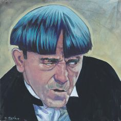 Moe Howard from the Three Stooges Done on 6x6 inch Aquabord with Winsor & Newton Gouache Paints