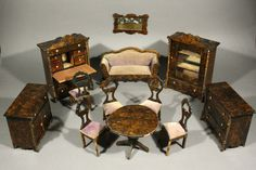 dolls furniture set. Outstanding Antique Faux-grained Rosewood Dollhouse Furniture In Its Original Wooden Box Dolls Set I