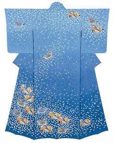 Mandarin Ducks - kimono by National Living Treasure of Japan, Tokio HATA (1911~2008)