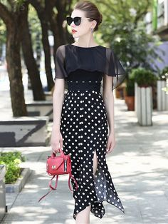 Buy Stylish Street Tippet Polka Slit Splicing Bodycon Dress with High Quality and Lovely Service at DressSure.com