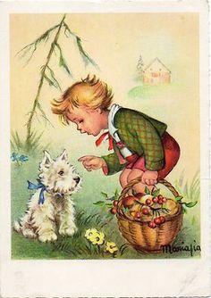 Vintage Westie Postcard. More