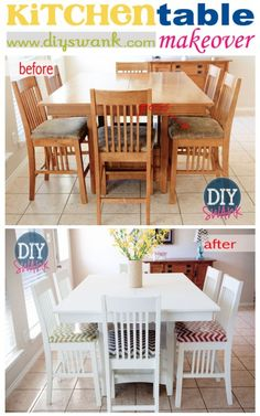 Before and After:  Kitchen Table Makeover....Love the mismatched chair cushions!