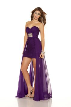Purple Chiffon Strapless Sweetheart Short Homecoming Dress with Train — Er, ditto this one.  ~ℛ