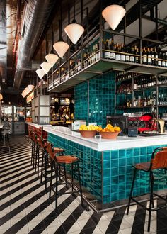 Loving the tile in this restaurant. The rich color of the bar really pops agains. Loving the tile in this restaurant. The rich color of the bar really pops against the stripes of ti Bar Interior Design, Restaurant Interior Design, Cafe Design, Interior Design Inspiration, Resturant Interior, Design Ideas, Bar Designs, Modern Interior, Design Trends