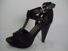 GUESS NEW Black Strappy Open Toe Heels Size 7 #GUESS #OpenToe