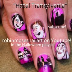 Hotel Transylvania nails!    Proof that Robin Moses is one of THE BEST Nail Artists!    Photo by robinmosesnailart