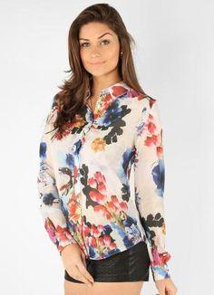 ae082fcc5 estampada camisas femininas de chiffon Blusa De Chiffon Branco, Moda  Primavera Verão, Camisa Feminina