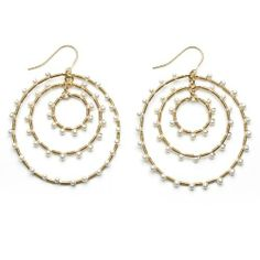 Gold-Plated Sterling Silver 3 Hoop Dangle Earrings with Mini Wire-Wrapped White Freshwater Pearls Joy De Mer. $700.00