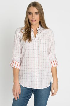 Velvet Heart tab sleeve plaid button up at Marketplace on Broadway