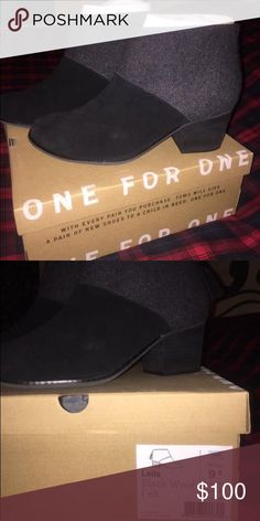 TOMS PRICE DROP!!!Beautiful black w/ wool TOMS boots! Worn once. True to size. Pretty tassel detail on heel zipper. Small gift included with every purchase  TOMS Shoes Ankle Boots & Booties